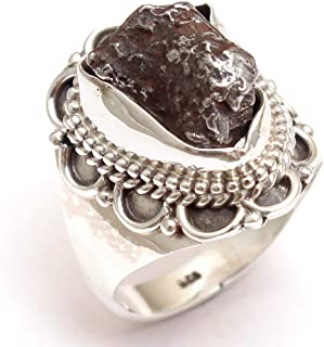 Bar Setting Meteorite Campo Del Cielo Gemstone Ring Father's Day Gift - 925 Sterling Silver Jewelry Lovely Ring Designer Ring Silver Jewelry