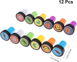 Amosfun 12pcs Halloween Stampers Pumpkin Bat Spider Stamper Set Seal Toy for Children Arts Crafts Paper Drawing Party Favors(2pcs for Each Pattern)
