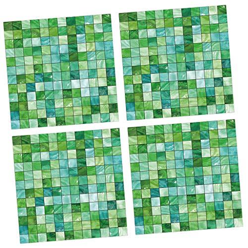 4er-Set 3D Mosaik Steinoptik Fototapete Wandbild Wandtapete Stein Tapete Wand Dekoration für Wohnzimmer Küche Bad - D