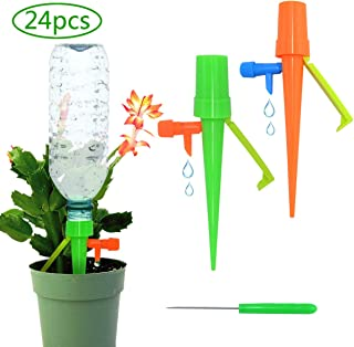 Automatic Plant Waterer Indoor Outdoor, Upgrade Irrigation Drippers, Plant Watering Stakes for Vacation, Plant Self Watering Spikes with Slow Release Control Valve (24)