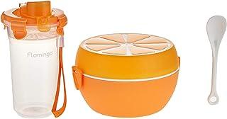 Flamingo Lunch Box With Bottle Set, Orange, FL5406PLB