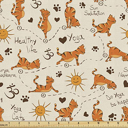 Ambesonne Cat Fabric by The Yard, Do Yoga Be Happy Theme Orange Cats in Positions Smiling Suns Paws Prints Hearts, Decorative Fabric for Upholstery and Home Accents, 1 Yard, Orange Brown