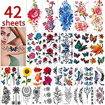 42 Sheets Flowers Temporary Tattoos Stickers Roses Butterflies and Multi-Colored Mixed Style Body Art Temporary Tattoos for Women Girls or Kids