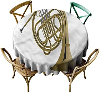 UETECH Restaurant Round Tablecloth Music,French Horn Brass Orchestra Wrinkle Free Tablecloths Diameter 50