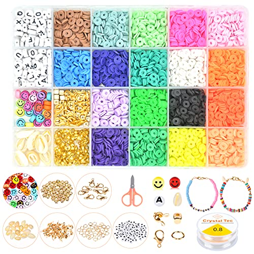 Clay Bead Kit,5000 PCS Polymer Clay Beads,Flat Beads for Bracelets,Clay Beads...