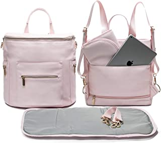 Leather Diaper Bag Backpack by Miss Fong, Diaper Bag with Changing Pad, Diaper Bag Organizer,Stroller Straps and Insulated Pockets(Blush Pink)