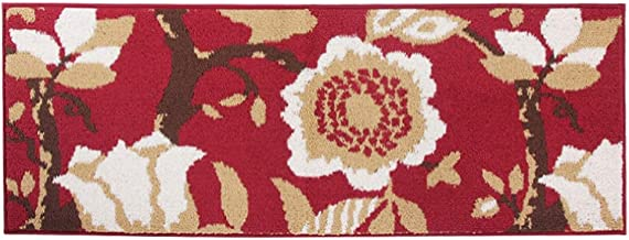 MustMat Kitchen Runner Rug/Mat Non Skid Rubber Backing Red Flower Design Area Rug Perfect in Front of Sink and Stove Area 18