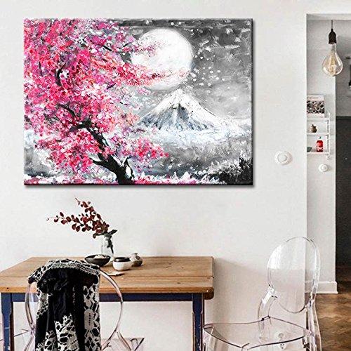 N / A Estilo Japonés Flor de Cerezo Fuji Montaña Paisaje Acuarela Pintura al óleo Lienzo Impresión Pintura de Pintura para el hogar Pintura Arte de pared sin marco 50 x 75 cm