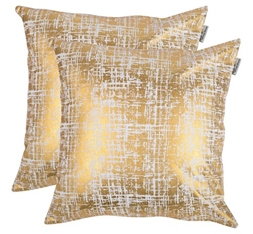 ACCENTHOME 100% Cotton Canvas Square Foil Printed Cotton Cushion Cover,Throw Pillow Case, Slipover Pillowslip for Home Sofa Couch Chair Back Seat,2pc Pack 18x18 in Mash - Gold Foil Print