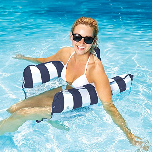 Aqua 4-in-1 Monterey Hammock Inflatable Pool Float, Multi-Purpose Pool Hammock (Saddle, Lounge Chair, Hammock, Drifter) Pool Chair, Portable Water...