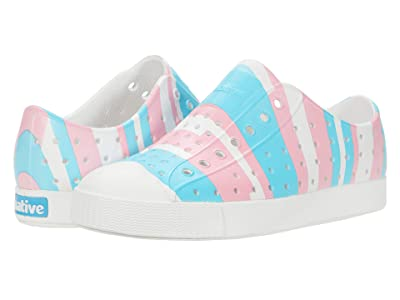 Native Kids Shoes Jefferson Print (Little Kid) (Shell White/Shell White/Pastel Multi Stripe) Girls Shoes