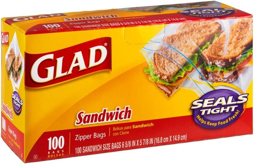 Glad Zipper 35% OFF Sandwich Max 88% OFF Bags 100 12 Count Pack of