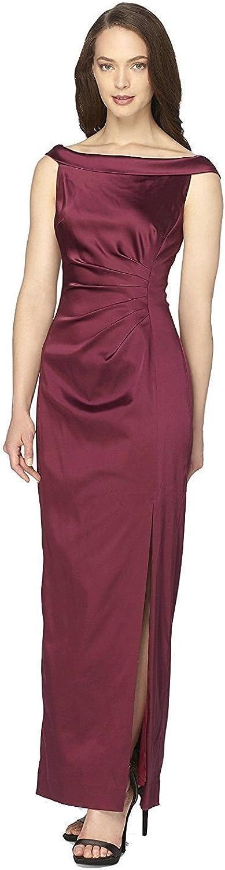 Tahari ASL Off-The-Shoulder Satin Gown Wine Size 12