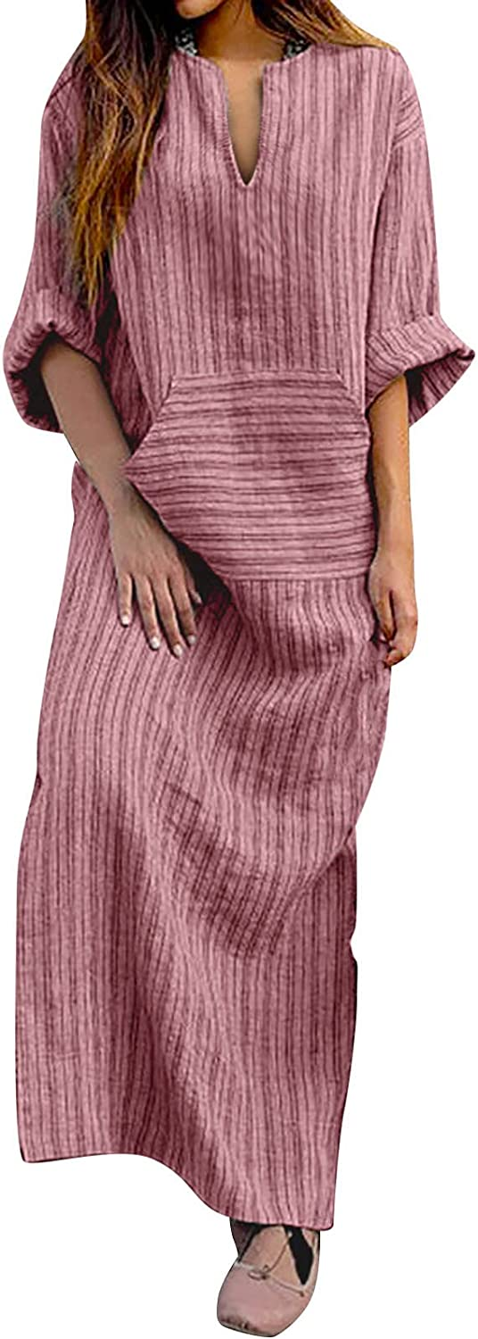 Maryia Women's Summer Casual Dress for Women Cotton Linen Retro Stripe Loose Fit V Neck Maxi Dresses with Pocket