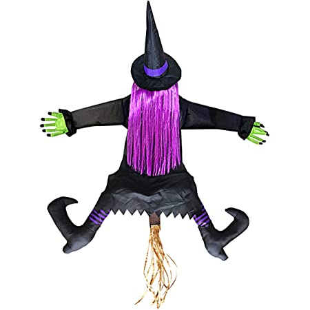 Halloween decorations ceramic Witch Scarecrow gifts for her Purple decor Halloween Decoration Halloween scarecrow centerpiece witch decor