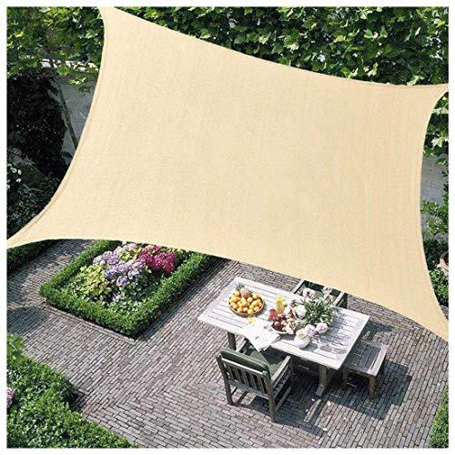 Toldo Vela de Sombra Transpirable Se instala en Fachada, Resistente Protección Rayos UV para Exterior Terraza Jardín Pérgola, Patio o Balcón Toldo Completo, Arena(Size:4×5m(13×17ft),Color:Arena)