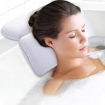 Massage et Relaxation METALBAY Oreiller de Baignoire Coussin de Bain Salle de Bain Oreiller de Bain Blanc Cuir PU pour Spa