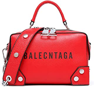 Fine Bag/Fashion Women's Handbag Rivet Versatile Shoulder Bag Simple Casual Small Square Bag Large Capacity Wide Shoulder Strap Ladies Bag Party Work (Color : Red, Size : 20.5 * 11.5 * 13.5cm)