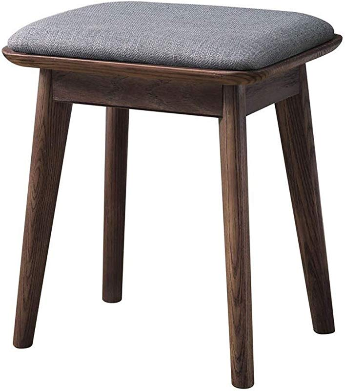 Carl Artbay Wooden Footstool All Solid Wood Makeup Modern Minimalist Dressing Furniture Bedroom Ash Wood Creative Soft Bag Home Color Gray