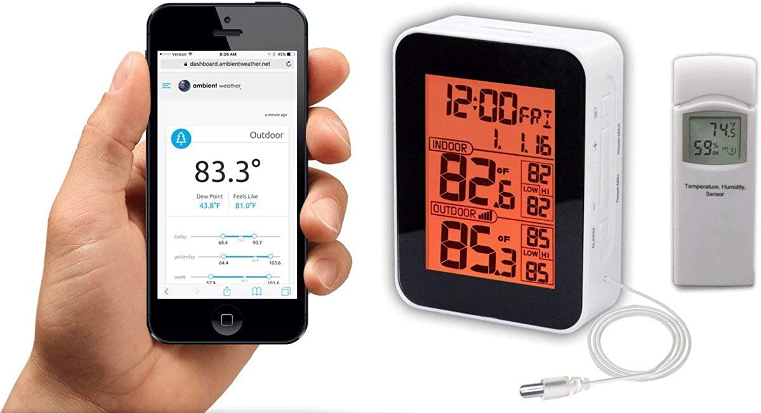 Ambient Weather WS-0265 8-Channel Wireless Internet Remote Monitoring Weather Station with Indoor Temperature and Outdoor Temperature & Humidity