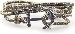 SW8 Silver Nautical Charm Anchor Bracelet for Men Women Multi-Wrap Paracord Rope Bracelets Adjustable Size 6