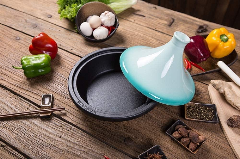 WEIZI Pot avec Base en Fonte et Couvercle d'entonnoir en grès Casserole en céramique de 27 cm en Fonte émaillée pour Tous Les Types de plaques de Cuisson (Couleur: Jaune) Green