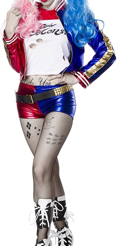 Damen Harlekin Fantasy Kostüm Joker Verkleidung aus Longsleeve, Jacke, Hotpants und Strumpfhose in weiß blau rot Kunstleder Wetlook XL B01MQ455O7 Ab dem neuesten Modell  | Spielzeugwelt, fröhlicher Ozean