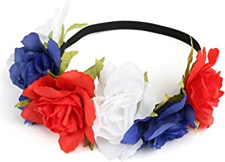 Stars and Stripes Fashion Big Floral Headpiece Fancy July 4th Headband Sequin Flag Feather Headband Patriotic Headband White Flowers