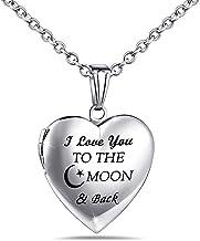 گردنبند لپ تاپ YOUFENG Love Heart که دارای تصاویر حک شده است من تو را به ماه دوست دارم و کیف های عکس پشت