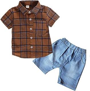 ALLAIBB Niñito Traje de Caballero 2 Piezas de Camisa a Rayas a Cuadros + Pantalones Cortos 1-4 año