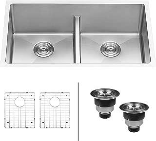 Ruvati 30-inch Low-Divide Undermount Tight Radius 50/50 Double Bowl 16 Gauge Stainless Steel Kitchen Sink - RVH7355 (Renewed)