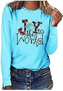 haoricu Women's Baseball T Shirt Casual Long Sleeve Round Neck Blouse Christmas Plus Size Letter Print Tee Blouse