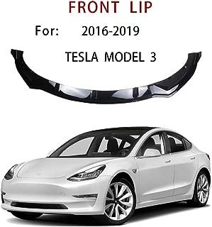 NINTE Front Lip for 2016-2019 Tesla Model 3, ABS Painted Gloss Black Coating Front Bumper Spoiler - 3pcs