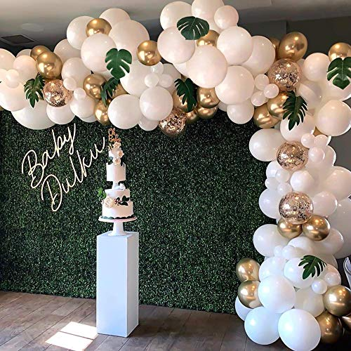 136PCS Balloon Garland Arch Kit, White Gold Confetti Balloons Artificial Palm Leaves 12 PCS, Balloons for Parties, Party Wedding Birthday Balloons Decorations, Baby Shower Decorations for Girl Boy
