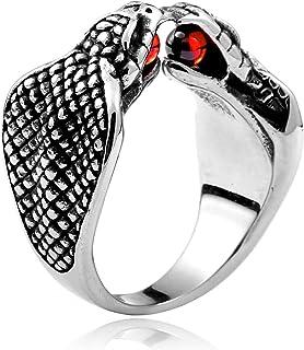 Kettles Edelstahl Gothic Punk Ring Silber Schwarz Schlange Ring Hiphop Legierung Mode Tier Kobra Vintage Schmuck Ringe mit...