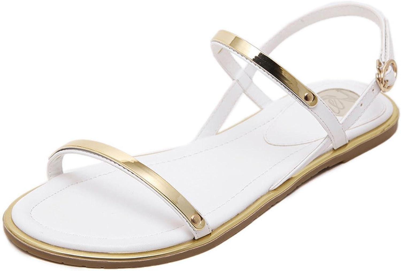 Women Summer Open Toe Beach shoes Flat Sandals Non-Slip Rome Sandals Plus Size
