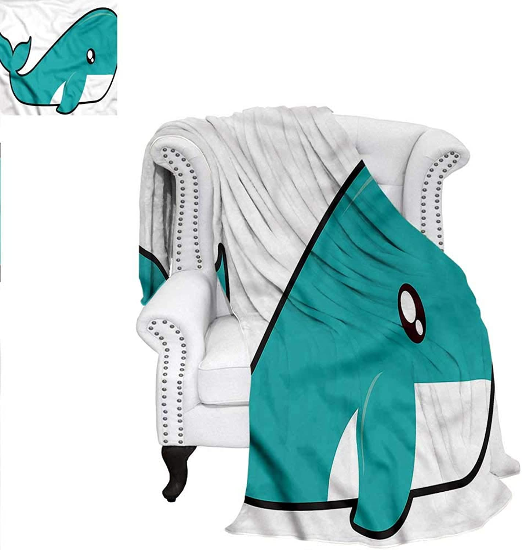 RenteriaDecor Kawaii Super Soft Blanket Cartoon Style Cute Whale Weave PatternBlanket 60 x36