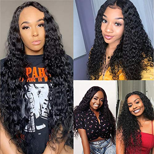 Jolibabe Water Wave Lace Front Wigs Human Hair for Black Women with Baby Hair Pre plucked 150% Density 100% Unprocessed Brazilian Virgin Remy Water Wave Human Hair Lace Front Wigs 16 inch