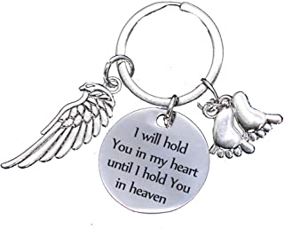 Memorial Gifts for Loss of Loved One - I Will Hold You in My Heart Until I Hold You in Heaven Angel Wings Keychain Baby Loss Sympathy Gift