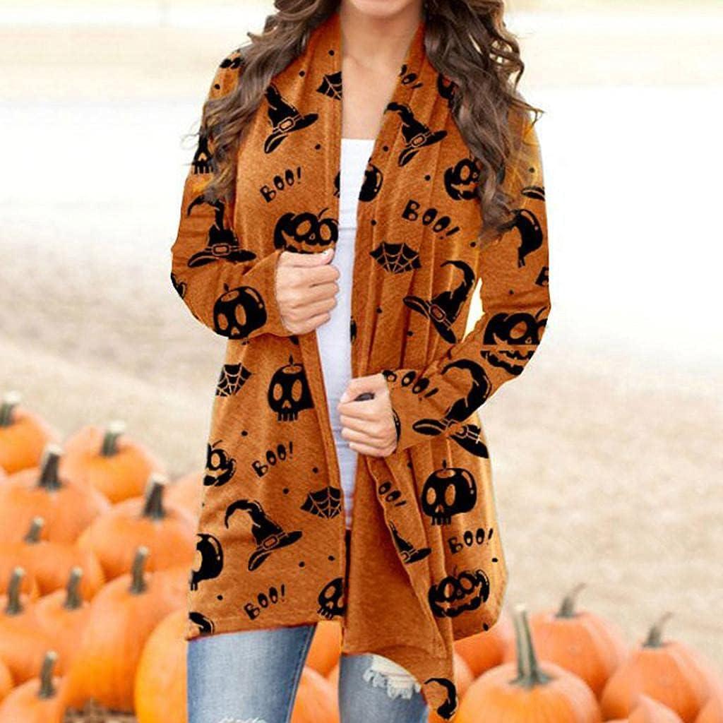 Cardigan for Women, Womens Halloween Cardigan Open Front Long Sleeve Sweaters Funny Pumpkin Black Cat Ghost Lightweight Coat