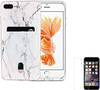 Oddss Case Compatible iPhone 8 Plus iPhone 7 Plus Case Card Holder Slot Marble Ultra-Slim Thin Soft TPU Clear Cover Compatible iPhone 8 Plus /7 Plus(5.5