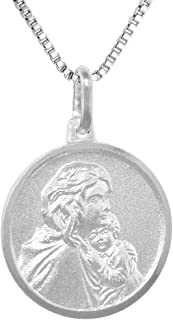 Sterling Silver Mother Mary Baby Jesus Medal Necklace 3/4 inch Round 0.8mm Chain