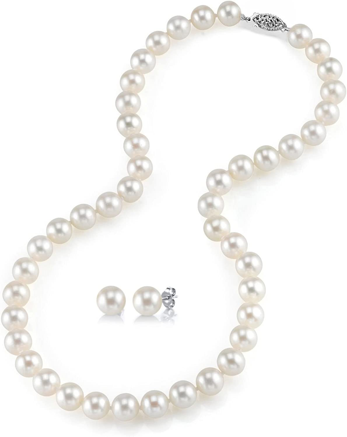 THE PEARL SOURCE 14K Gold 7-8mm Round White Freshwater Cultured Pearl Necklace & Earrings Set in 24