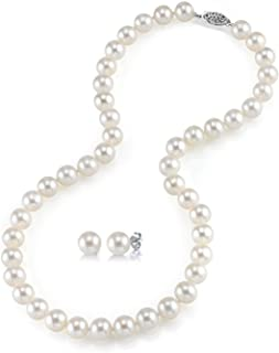 """THE PEARL SOURCE 14K Gold 8-9mm AAAA Quality Round White Freshwater Cultured Pearl Necklace & Earrings Set in 18"""" Princess Length for Women"""