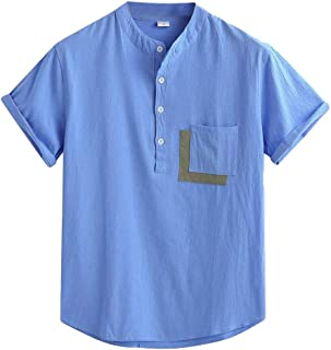 OTW Men's Stand Collar Cotton Linen Short Sleeve Fashion Button Up Shirts