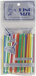 Soodhalter Plastics Inc. 824 Soodhalter King-Size Pics, Sandwich Appetizer Cocktail Food Picks, Made in USA, Set of 75, Assorted Colors