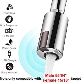 "Smart Touchless Faucet Adapter for Kitchen and Bathroom,Automatic Faucet Adapter Motion Sensor,Compatible With Male 55/56"" Female 15/16"",Touchless Kitchen Faucet,Sink Faucet,Economical Faucet by MGDC"