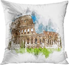 Funda de Almohada Watercolor Painting of The Colosseum Rome Italy with Green Grass Foreground Under Blue Sky Splash Decorative Pillow Case Home Decor Square 18x18 Inches Pillowcase