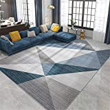 Kunsen La Alfombra Regional Alfombra Alfombra Antideslizante Moderna con patrón de triángulo geométrico Azul marrón Gris Antideslizante Suave para salón Alfombras 140 * 200cm