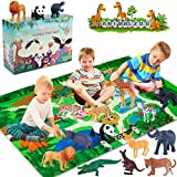INNOCHEER Safari Animals Figures Toys with Play Mat, Realistic Plastic Jungle Wild Zoo Animals Figurines Playset with Giraffe, Lion, Panda, Gorilla for Kids, Boys & Girls
